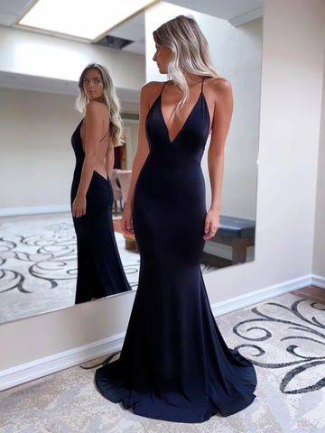 Deep V Neck Backless Black Mermaid Satin Long Prom Dresses, Open Back Black Mermaid Long Formal Evening Graduation Dresses