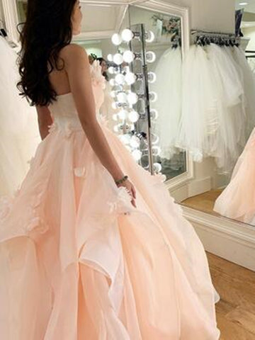 Pink Tulle Lace Floral Long Prom Dresses, Pink Tulle Lace Floral Long Formal Evening Dresses