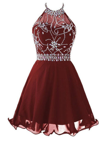 A Line Halter Neck Short Backless Burgundy Prom Dress, Backless Burgundy Homecoming Dress, Formal Dress, Graduation Dress