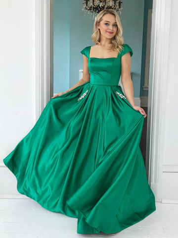 Cap Sleeves Green Satin Long Prom Dresses with Pockets, Green Cap Sleeves Long Satin Formal Graduation Evening Dresses