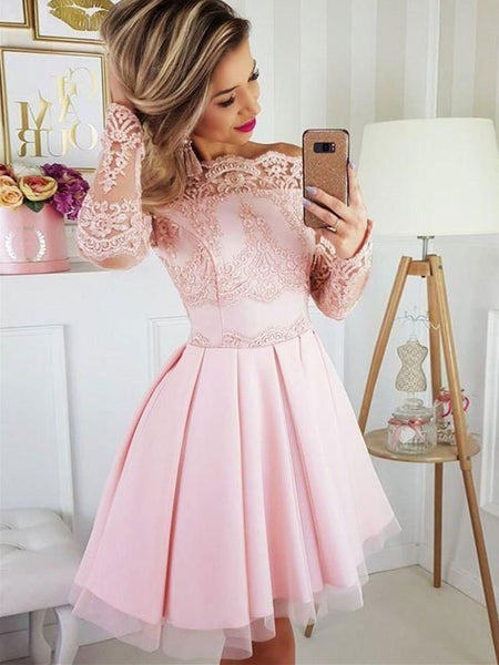 Cute Pink Tulle Lace Short Prom Dress, Pink Tulle Lace Long Sleeves Short Homecoming Dress