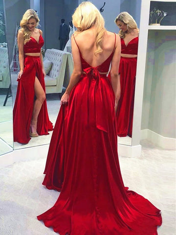 V Neck Red 2 Pieces Prom Dresses With Leg Slit, Two Pieces Red Long Formal Evening Dresses