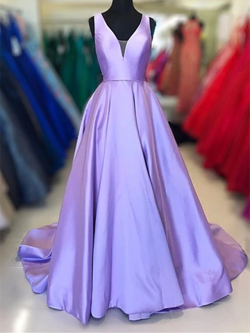 A Line V Neck Purple Satin Long Prom Dresses, Graduation School Party Gown, Purple Formal Evening Dresses