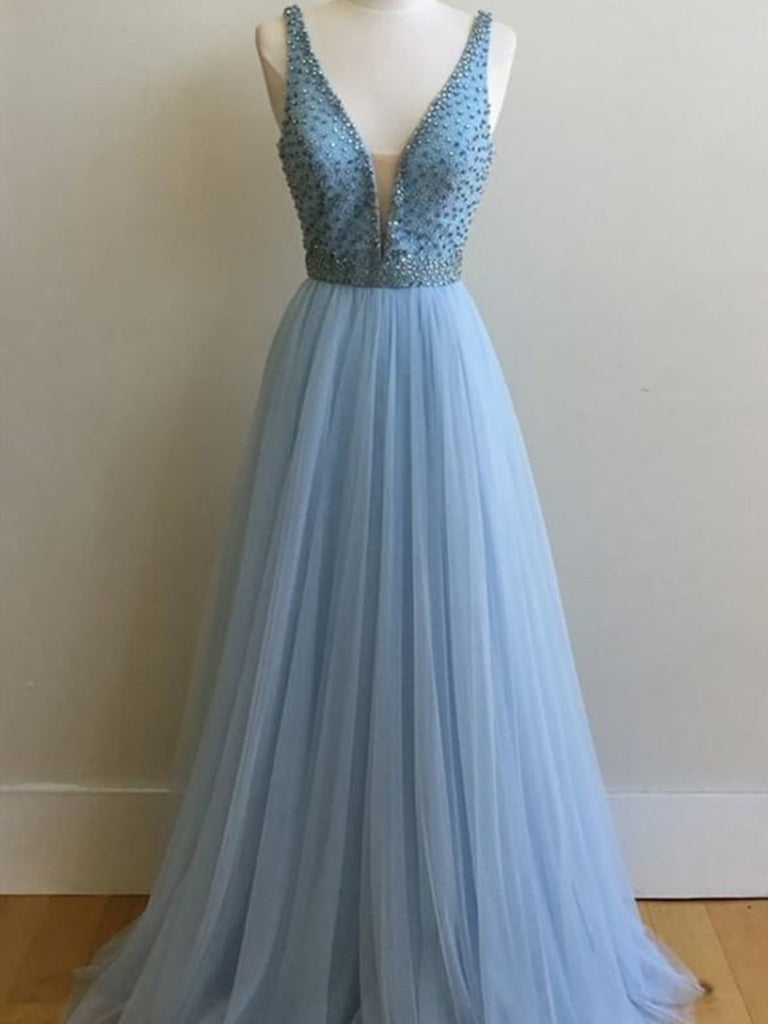 Beautiful Deep V-neck  Light Blue Long Tulle Prom Dresses With Beading, Light Blue Tulle Formal Evening Dresses
