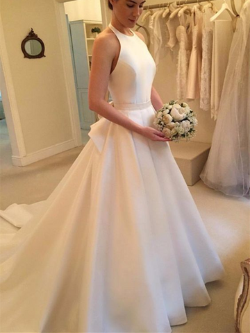 A Line White Halter Backless Court Train Satin Wedding Dresses with Bow-knot, White Halter Backless Prom Dresses