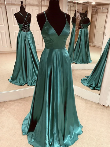 A Line V Neck Emerald Green Backless Satin Long Prom Dresses, Emerald Green Open Back Formal Evening Dresses