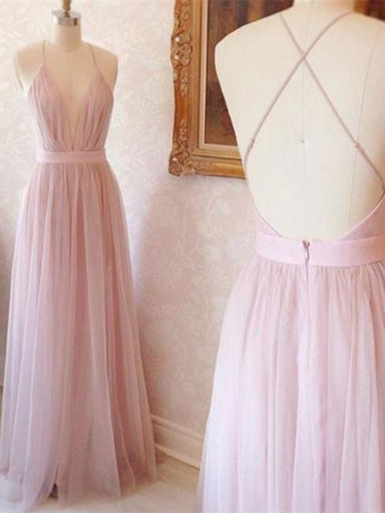 A Line V Neck Pink Tulle Long Prom Dresses, Open Back Evening Dresses