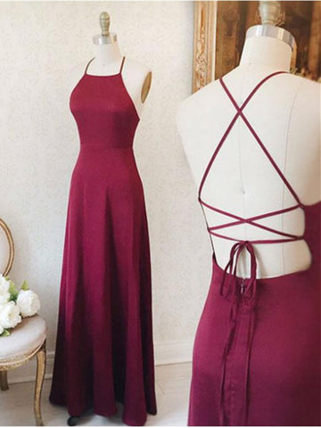 A Line Burgundy Satin Criss-Cross Straps Sleeveless Prom Dresses, Simple Burgundy Long Evening Dress