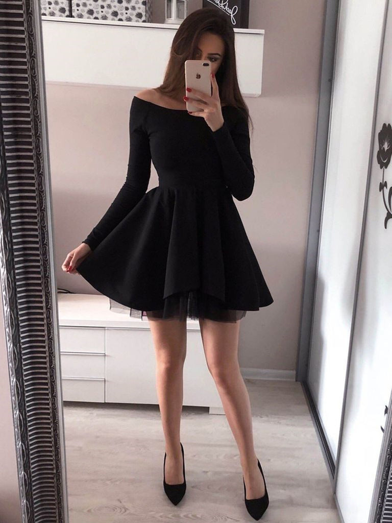 Long Sleeves Black Short Homecoming Dresses, Mini Black Short Prom Dresses