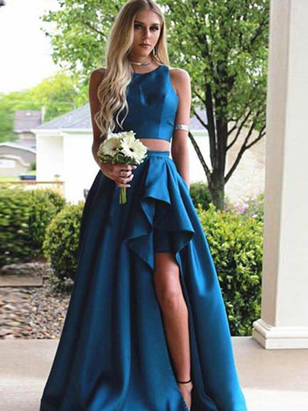 A Line Scoop Brush Train Blue Satin Two Pieces Prom Dresses, Blue 2 Pieces Prom Dresses