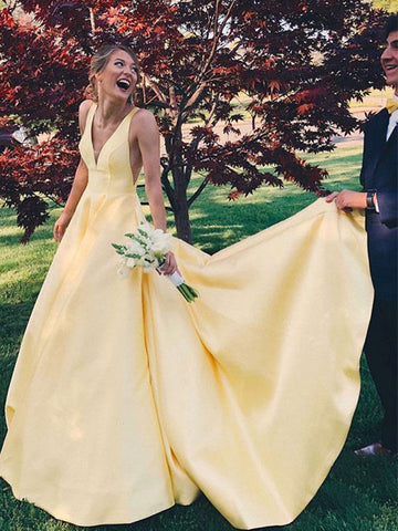 A Line V Neck Yellow Satin Long Prom Dresses, V Neck Backless Yellow Wedding Dresses, Formal Dresses