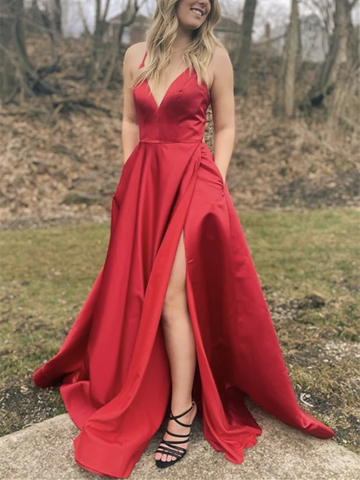A Line V Neck Red Satin Long Prom Dresses With Leg Slit, A Line V Neck Red Satin Long Formal Evening Dresses