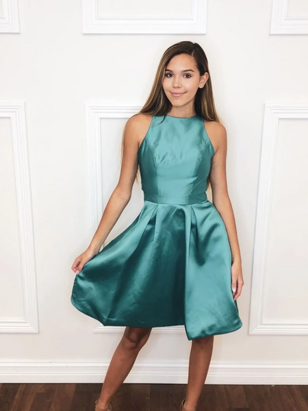 Simple Green Satin Short Prom Dresses, Short Green Formal Evening Homecoming Dresses