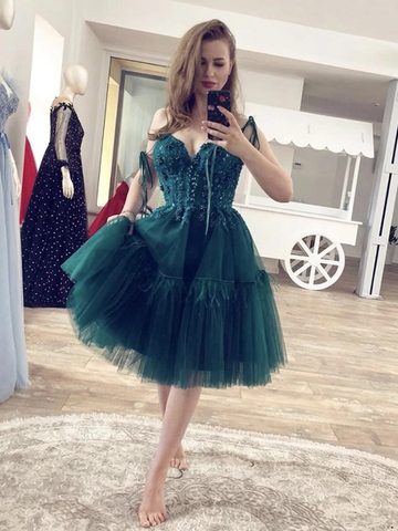Gorgeous Beaded Green Lace Short  Prom Dresses, Short Green Lace Formal Graduation Homecoming Dresses, Lace Green Cocktail Dresses