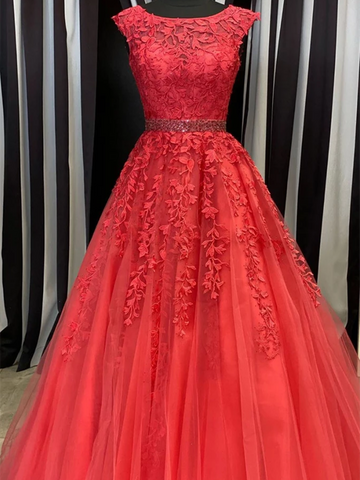 Red Round Neck Tulle Lace Long Prom Dresses, Red Round Neck Tulle Lace Long Formal Evening Dresses