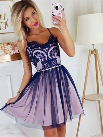 Dark Navy Blue Lace Tulle Short Prom Dresses, Dark Navy Blue Lace Tulle Short Evening Dresses