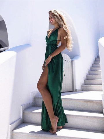 A Line V Neck Green Backless Prom Dress, Backless Formal Dress