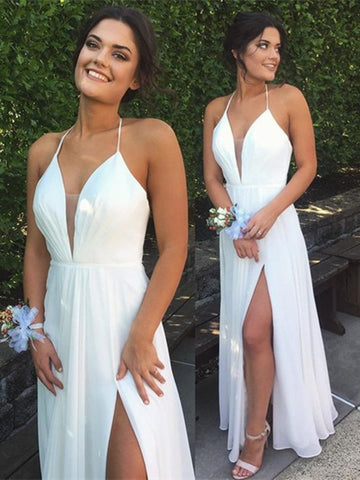 A Line White Chiffon Deep V Neck Prom Dress with Halter Neck, White V Neck Bridesmaid Dress, Formal Dress