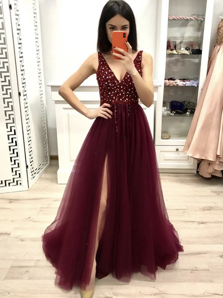 Stylish Burgundy V Neck Tulle Sequins Long Prom Dresses, Burgundy V Neck Tulle Sequins Formal Evening Dresses