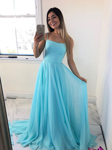 A Line Simple Blue Chiffon Long Prom Dress, Blue Chiffon Formal Evening Dress