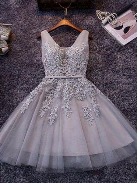 Gray Tulle Lace Short Prom Dress, Gray Tulle Lace Graduation Dress