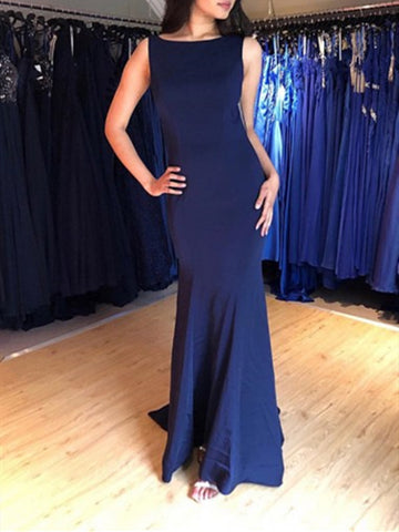 Navy blue round neck mermaid open back long prom dress, Navy Blue mermaid formal evening dress