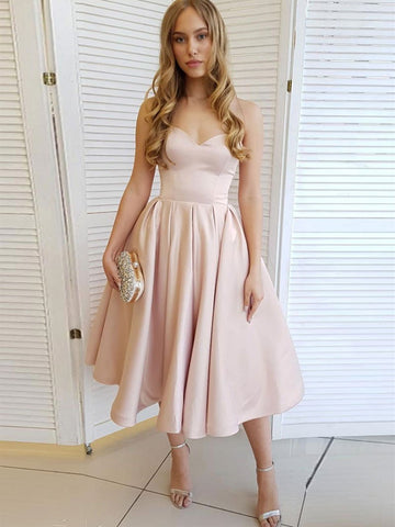 Simple sweetheart neck satin short prom dresses, light pink homecoming Graduation dresses