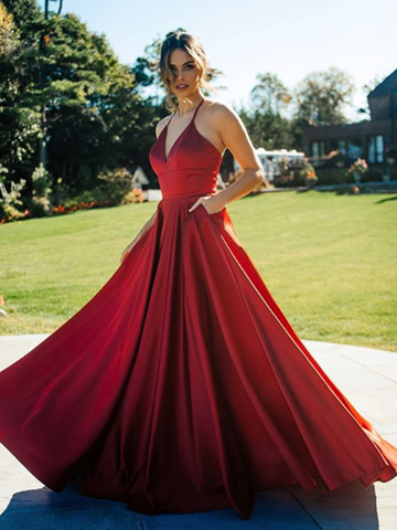 A Line V Neck Satin Burgundy Long Prom Dresses, V Neck Satin Burgundy Long Formal Evening Dresses