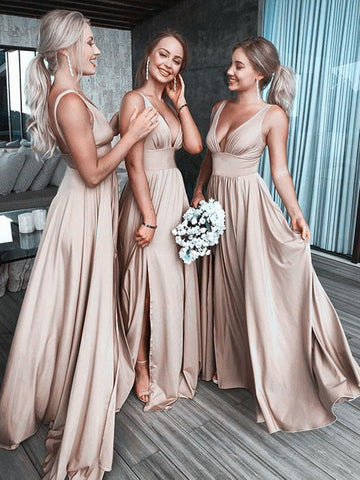 Simple sexy  v neck satin long prom evening dress, V neck long bridesmaid dress