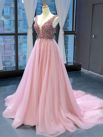 V Neck Pink Elegant Tulle Long Prom Dresses With Beaded, V Neck Pink Elegant Tulle Long Formal Evening Dresses