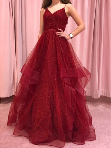Burgundy V Neck Tulle Long Prom Dress, Burgundy V Neck Tulle Long Formal Evening Dress