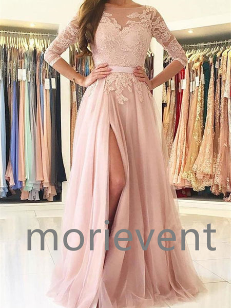 A line illusion neck lace tulle half sleeves long prom dresses, Pink lace formal evening dresses
