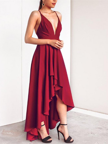V Neck Burgundy High Low Prom Dresses, Burgundy High Low Graduation Formal Evening Dresses