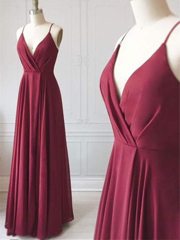 Custom Made  V Neck Burgundy Chiffon Long Prom Dresses,  V Neck Burgundy Formal Evening Dresses