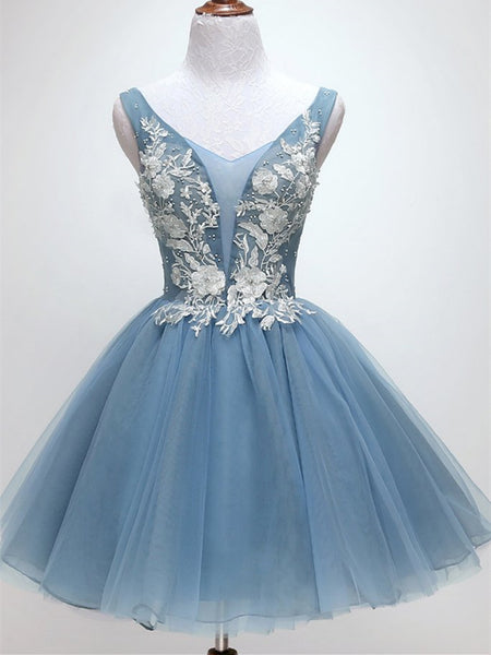 Blue Short lace Tulle Homecoming Dresses, Lovely Short Prom Dress 2019
