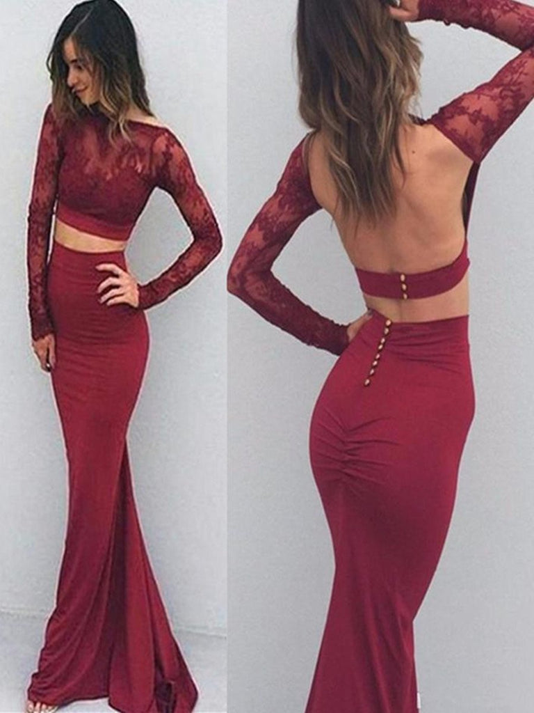 Sexy Mermaid Burgundy Backless Long Prom Dress With Long Sleeves, Backless Formal Dress, Burgundy Graduation Dress