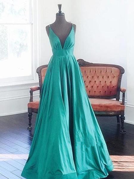 Simple Green A Line V Neck Long Prom Dress, V Neck Formal Dresses, Evening Dresses