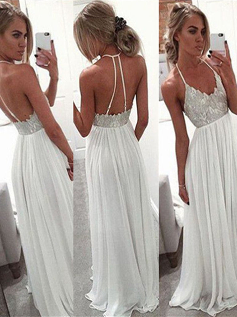 A Line Halter Neck White Backless Floor Length Chiffon Prom Dress ...