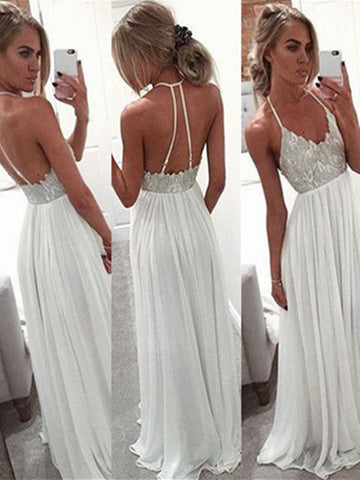 A Line Halter Neck White Backless Floor Length Chiffon Prom Dress, White Backless Formal Dress