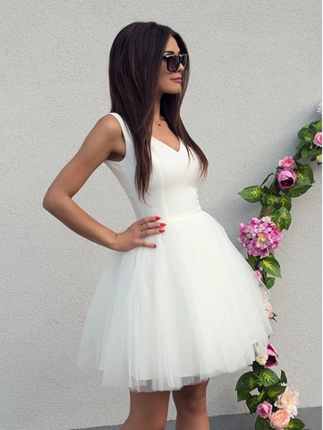 V Neck White Tulle Short Prom Dresses,  White Tulle Formal Homecoming Graduation Evening Dresses