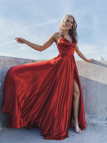 A Line V Neck Red Satin Backless Long Prom Dresses, Long Satin Open Back Red Formal Evening Dresses