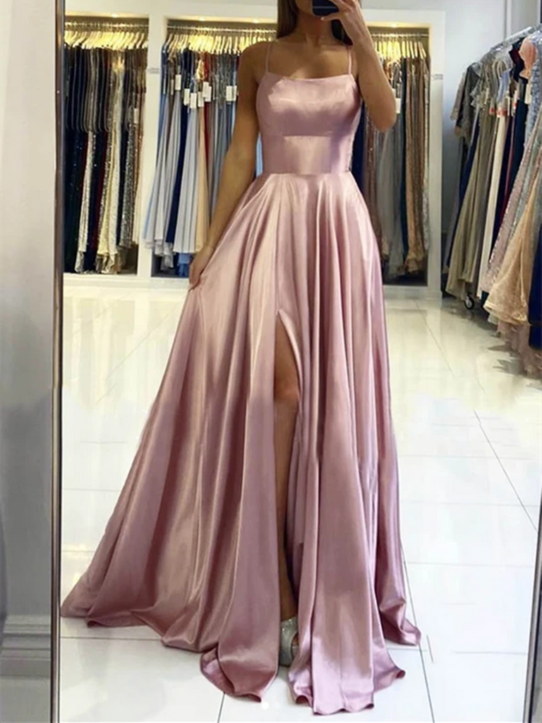 Simple Pink Satin Long Prom Dresses With Leg Slit, Pink Satin Long Formal Evening Dresses
