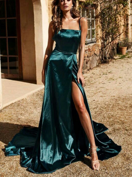 Simple A Line Green Straps Backless Prom Dresses With Leg Slit, Green Open Back Satin Long Formal Evening Dresses