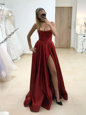 Simple Satin Burgundy Long Prom Dresses With High Leg Slit,  Burgundy Satin Formal Evening Dresses