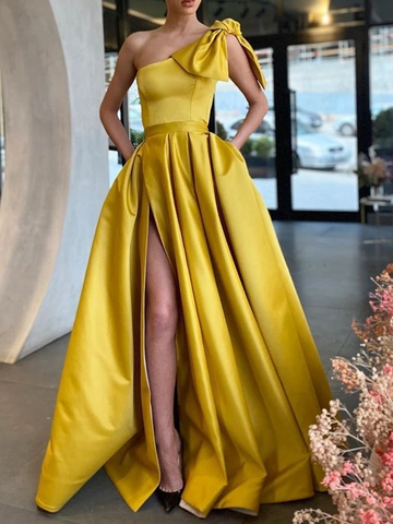 One Shoulder Satin Yellow High Slit Prom Dresses, One Shoulder Formal Dresses, Yellow Graduation Evening Dresses