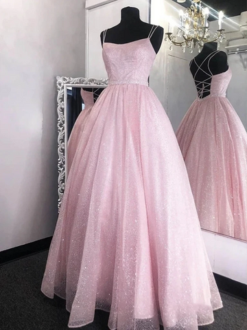 Pink Sequins Backless Long Prom Dresses, Open Back Pink Formal Graduation Evening Dresses
