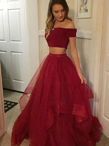 Off Shoulder Two Piece Ruffled Tulle Burgundy Ball Gown Dress, 2 Piece Burgundy Prom Dress, Formal Evening Dress
