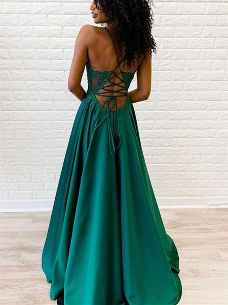 A Line V Neck Emerald Green Spaghetti Straps Lace Appliques Prom Dresses, Lace Emerald Green Formal Evening Dresses