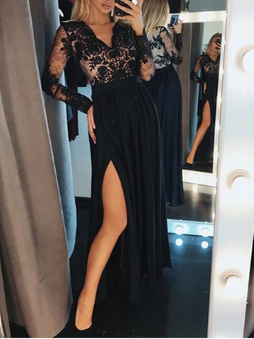 A Line/Princess Long Sleeves V Neck Black Lace Long Chiffon Dresses, Long Sleeves Black Lace Long Evening Dresses