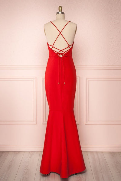 Thin shoulder strap Backless Mermaid Red Prom Dresses, Red Mermaid Backless Formal Evening Dresses